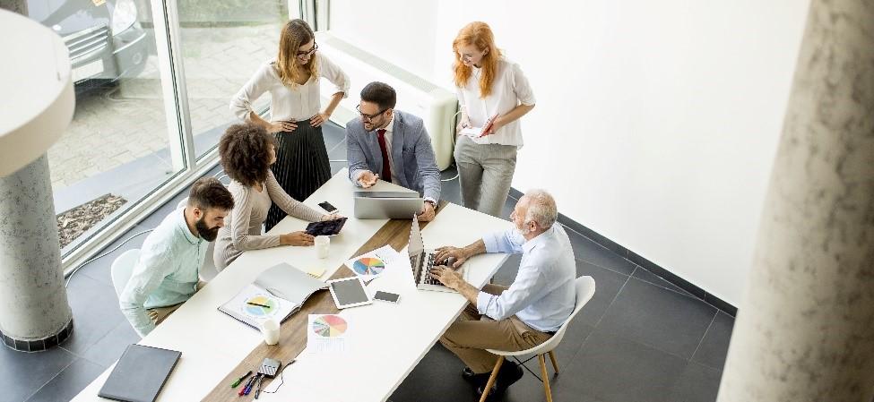 Gruppe von Menschen während einer Mediation - Bild auf Steinbeis-mediation.com